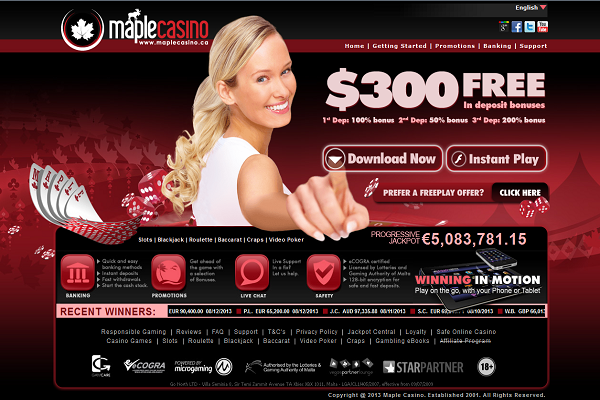 Above: Maple Casino's Home Page